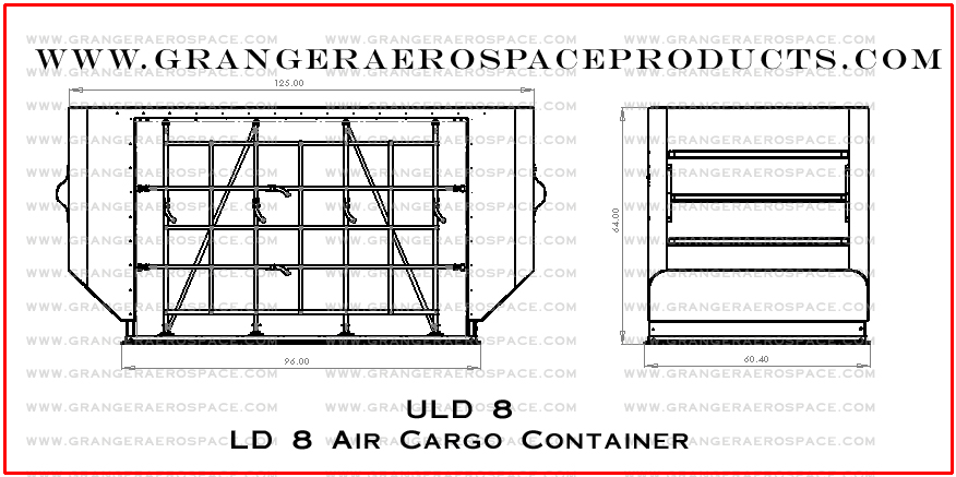 Granger Aerospace LD8, LD8 Dimensions, Granger Aerospace Products LD 8, LD 8 Container, Air Cargo Container